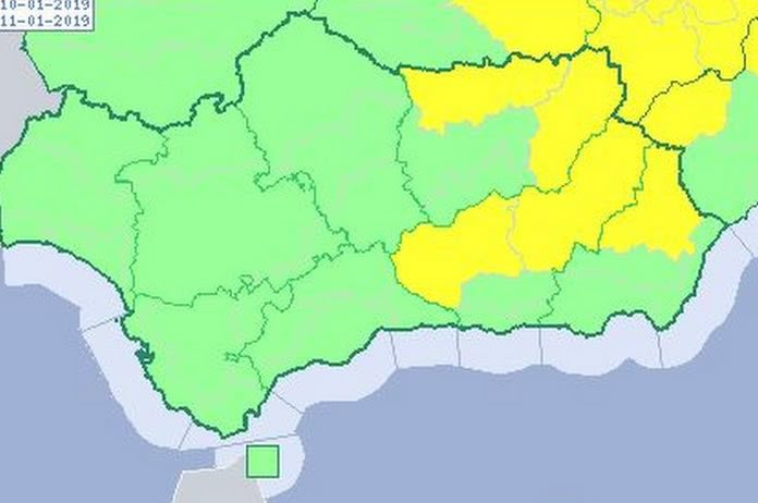 Mapa altas temperaturas en Tíjola