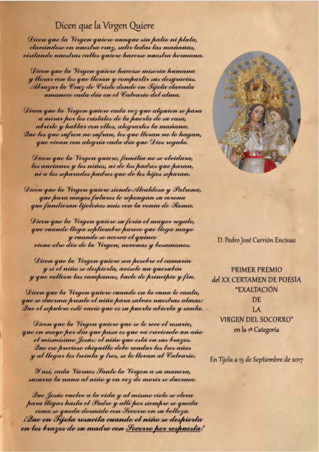 """Premio Exaltación Virgen del Socorro 2017"""""""