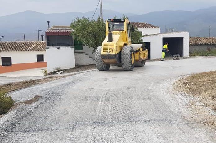 Obras de pavimentación en Tíjola imágen de archivo